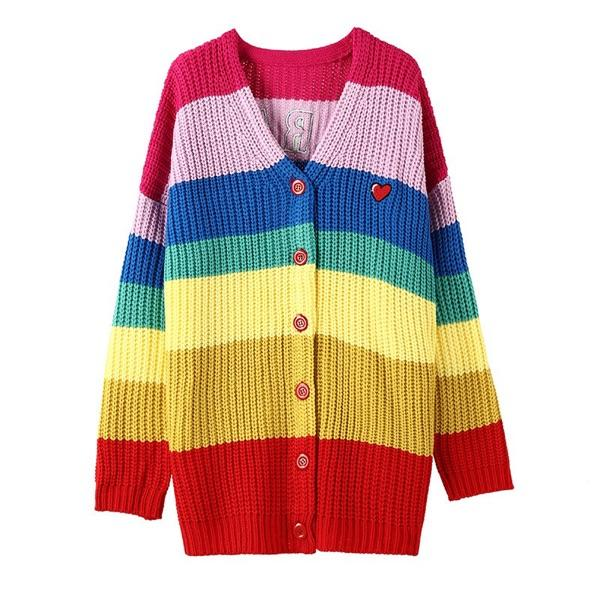 Candy Colorful Stripe Knitted Sweater KW1812011