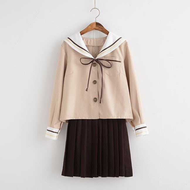 Japanese Brown Skirt Sailor Bow School Uniform KW178908