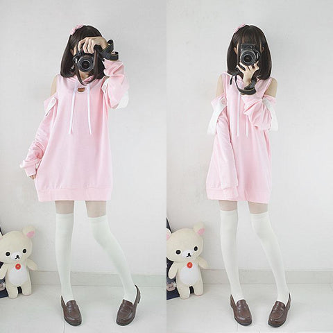 Pink Cat Cut Out Hollow Chest Cat Ears Hoodie Sweater K12879