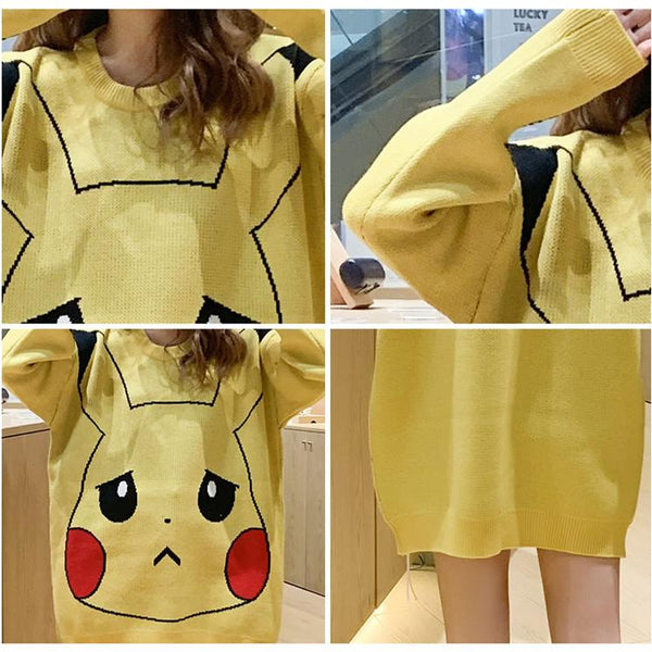 Yellow Cute Pikachu Sweater K14220