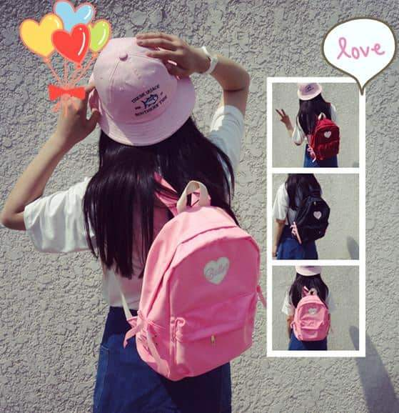 Cute Harajuku Lace Heart Backpack