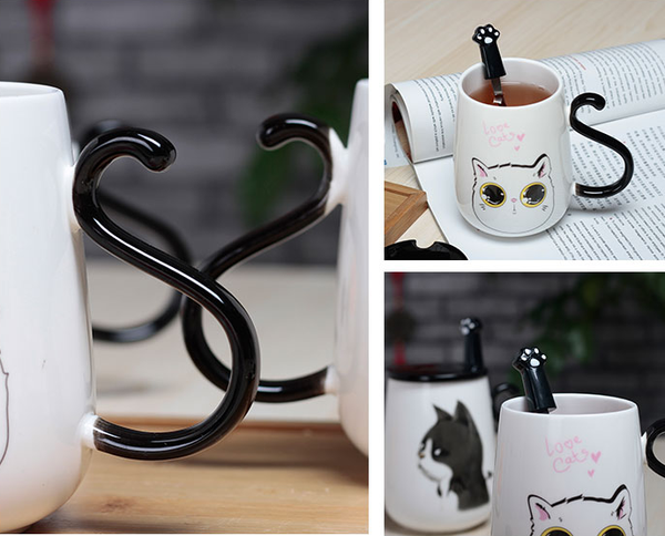 Black/White Kawaii Cat Ceramic Mug KW1710504