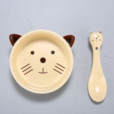 Kawaii Cartoon Ceramic Bowl Spoon Set KW179164