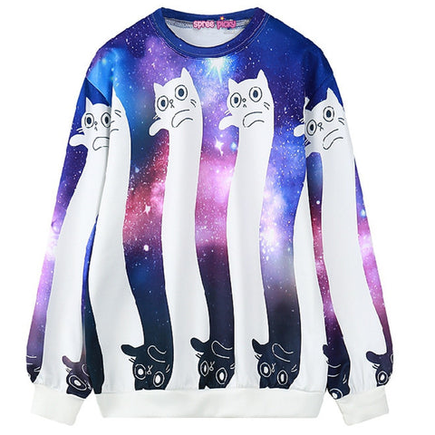 Dancing Cats Galaxy Oversized Pullover Sweater KW168314