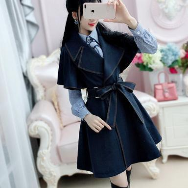 Dark Blue Bat Sleeves Chic Coat