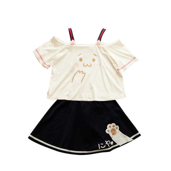 Cute Kawaii Cat's Paw Dew Shoulder T-shirt + skirt