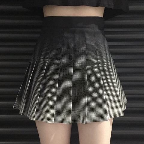 Black Grey Gradient Pleated Skirt KW179171