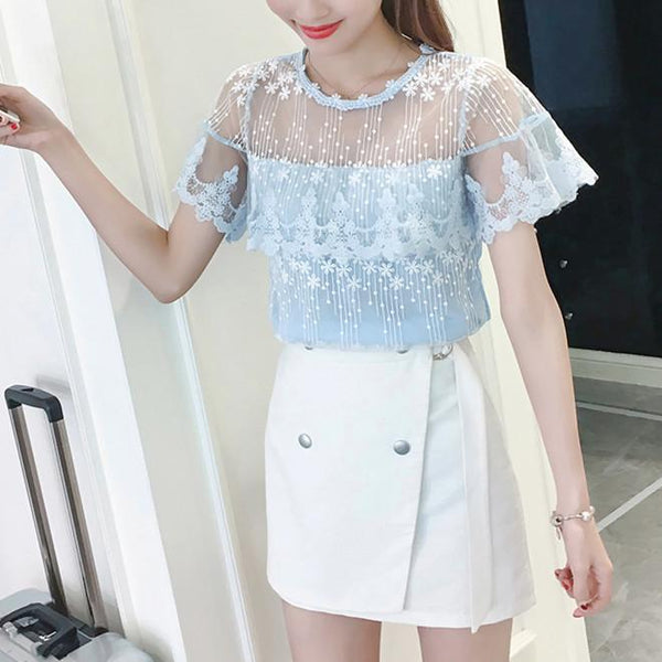Fairy Flower Lace Chiffon Tee Shirt K13667