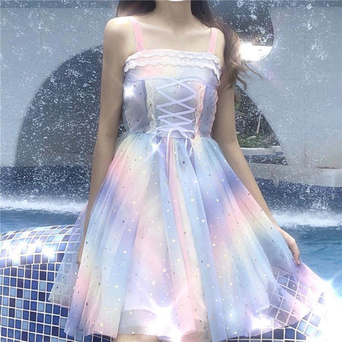 Fairy Rainbow Laced Suspender Dress K13990