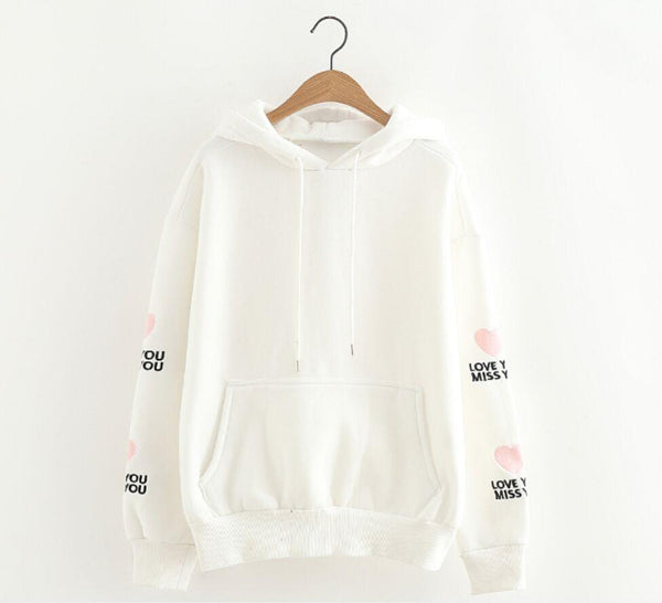 Fashion Loose Love Embroidery Long Sleeved Hoodie Couples