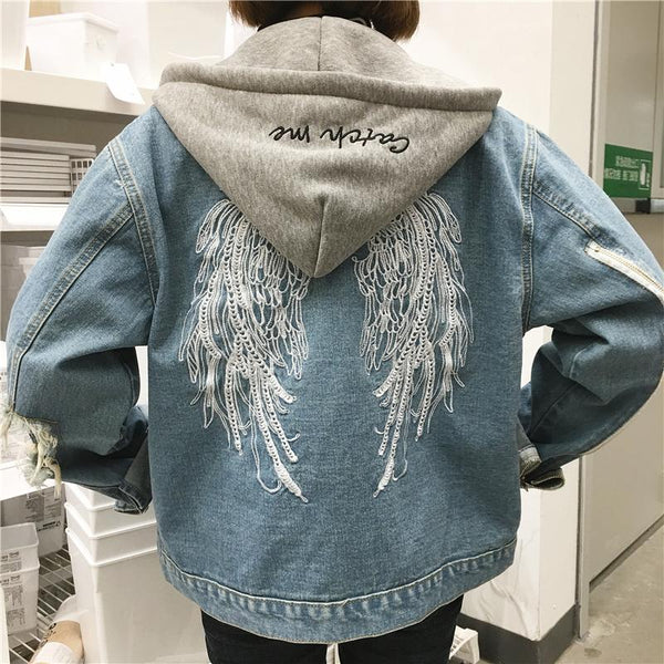 Fashion Wings Embroidery Hoodie Chaqueta