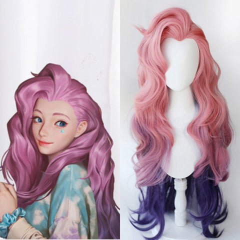 LoL Seraphine Cosplay Loose Wave Pink Mixed Purple Wig K15196 - kawaiimoristore