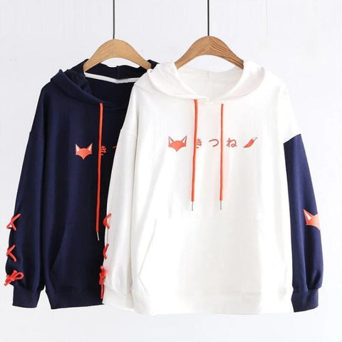 White/Dark Blue Fox Print Lace-up Hoodie Sweatshirt K14245