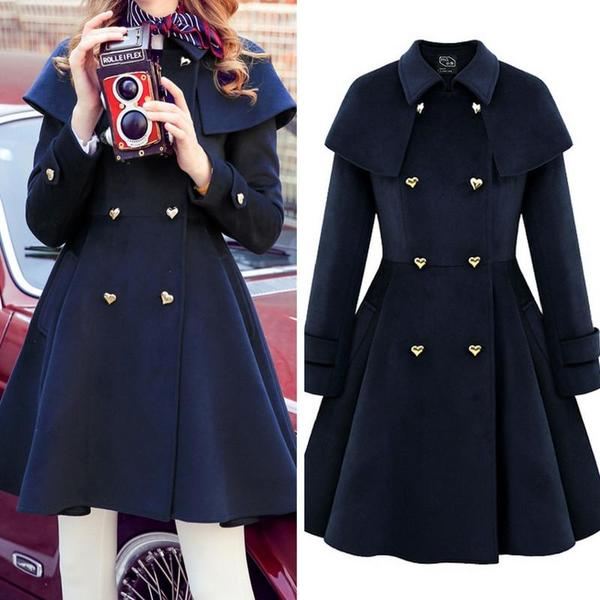 {Free Shipping} Heart Button Double Breast Elegant Midi Woolen Coat Jacket KW168269