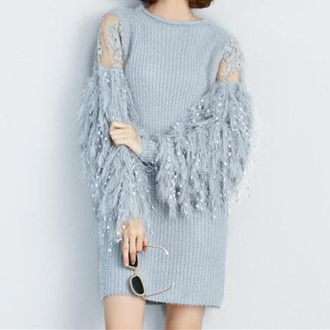 Fur Spliced Long Sleeves Knitted Sweaters Dress