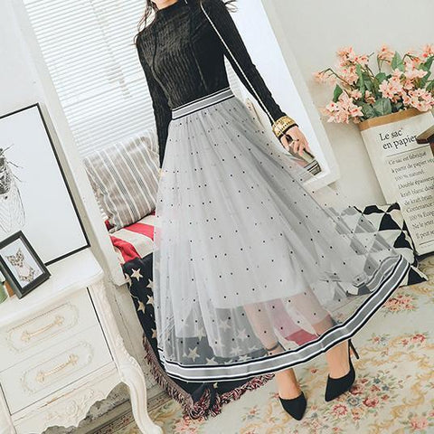 Gauze Dots High Waist Long Skirt