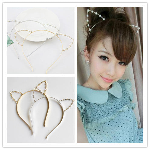 Gold/Silver Neko Cat Ear Pearl Hairband KW152165