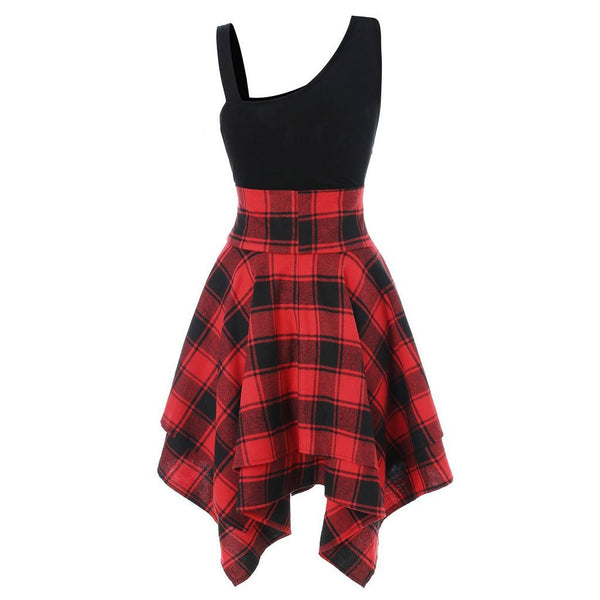 Gothic Lace Up Waist Plaid Irregular Dress K13721