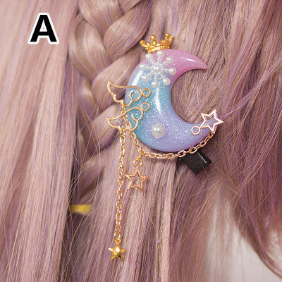 Gradient Moon Star Wings Hairpin KW1710330