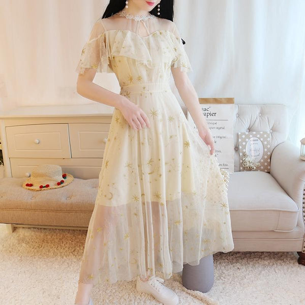 Gray/Beige Starry Short Sleeve Tulle Dress K12737
