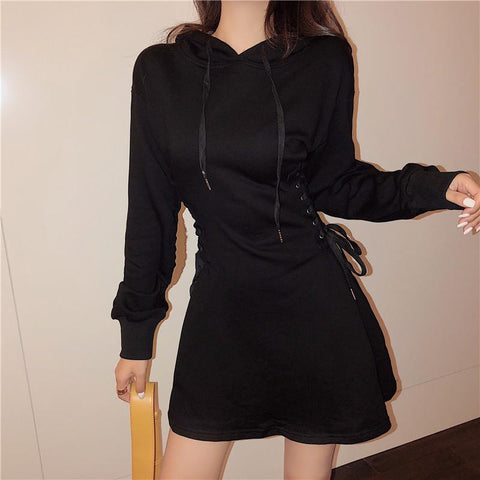 Grey/Black Chic Laced Hoodie Dress K13405
