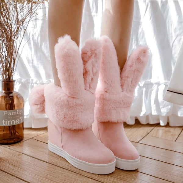 Grey/Pink/Black Kawaii Bunny Ears Fleece Boots K12943