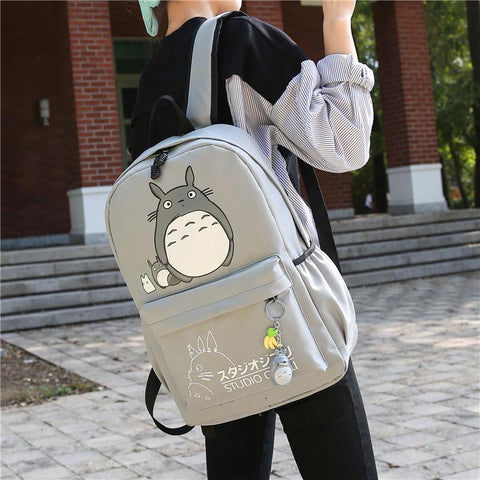 Grey/Pink Totoro Canvas Backpack KW1710946