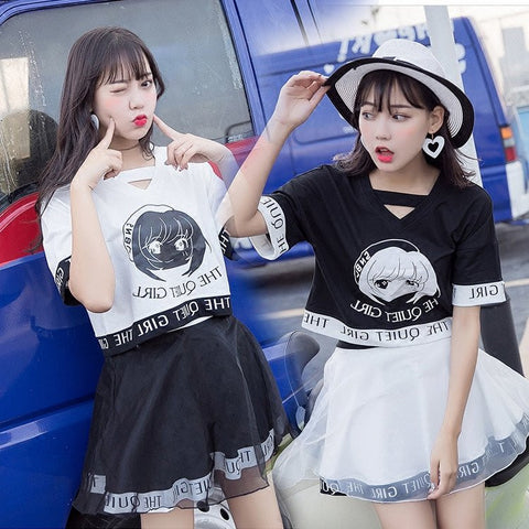 Harajuku Fashion T-shirt + Skirt Two-piece