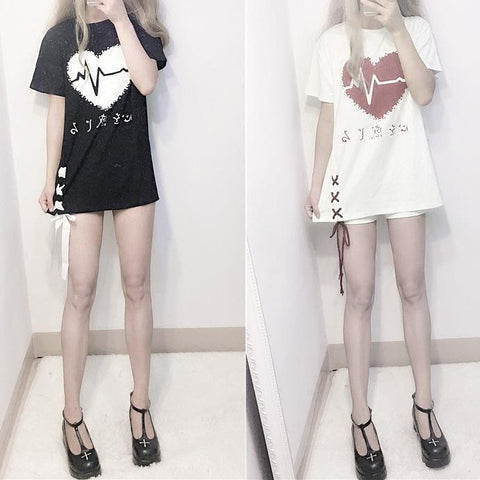 Harajuku Heart Beat Long T-shirt