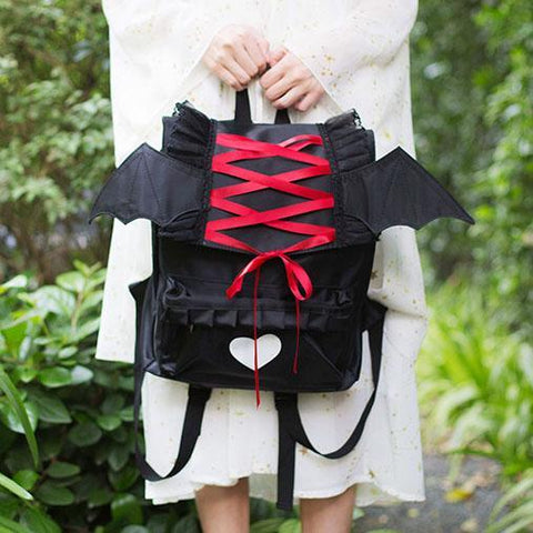 Harajuku Ribbon Bat Heart Backpack