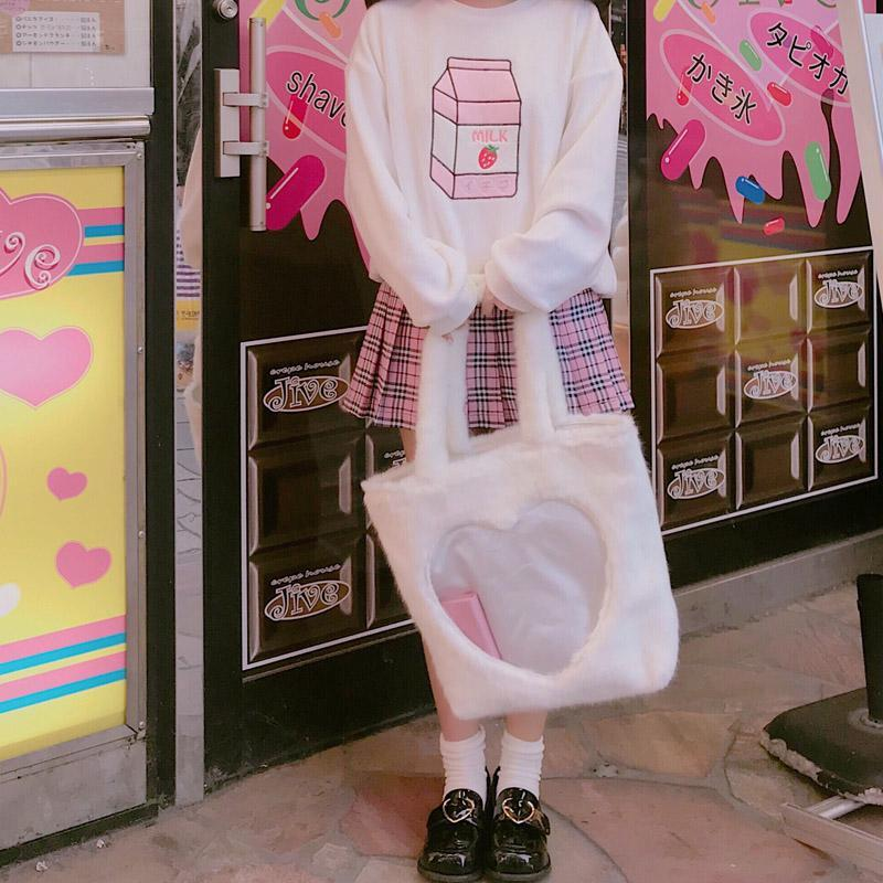 Harajuku Transparent Heart Fluffy Shoulder Hand Bag