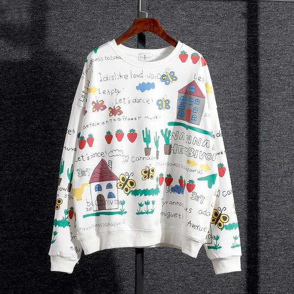 Harajuku Fashion Cartoon Printing Fleece Pullover KW1711425 - kawaiimoristore