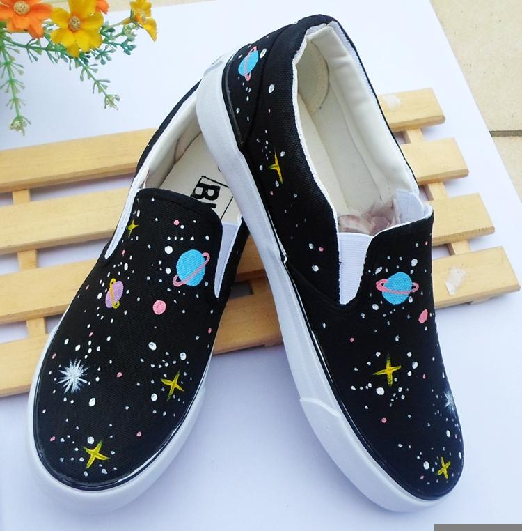 331d837ada4 ... Harajuku Fashion Galaxy Hand-painted Canvas Shoes KW1711000 ...