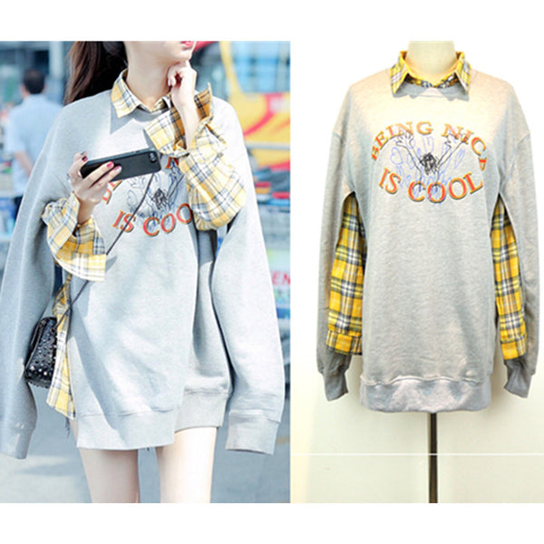 Harajuku Fashion Grid Shirt+Fleece Pullover Two-piece