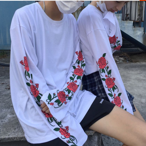 Harajuku Fashion Rose Printed Long Sleeve T-shirt KW1710318