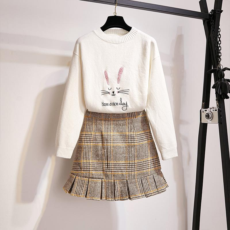 Have a Nice Day Bunny Sweater/Grid Skirt Set K14223