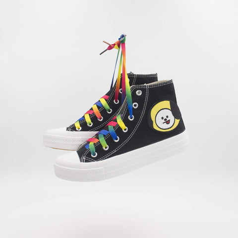 Black BTS BT21 Rainbow High Sneakers
