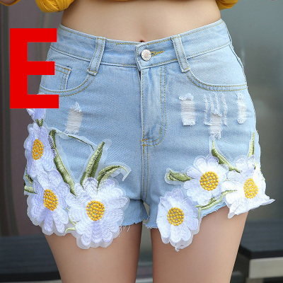 Flower Embroidery Denim Shorts K14023