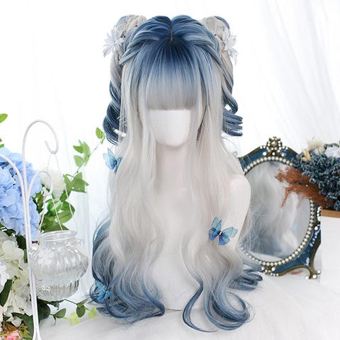 Grey Blue Mixed Ice Soft Lolita Girl Wig K14971