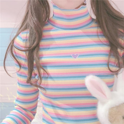 Sweet Rainbow Striped Heart Long Sleeve Turtleneck Knitted Tops K15155 - kawaiimoristore