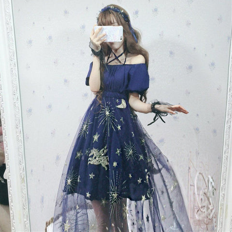 Japanese Harajuku Blue Star Horse Mesh Dress