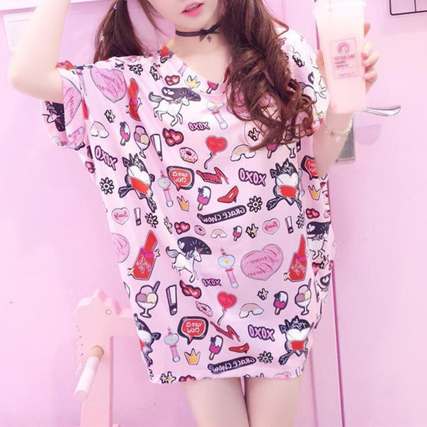 Harajuku Cute Printed Loose Long T-shirt