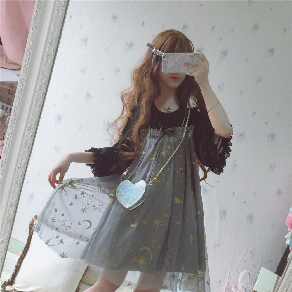 Japanese Harajuku Mesh Moon Star Dress