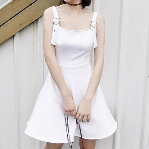 Harajuku Summer Black/White Heart Strap Shoulder-less Dress