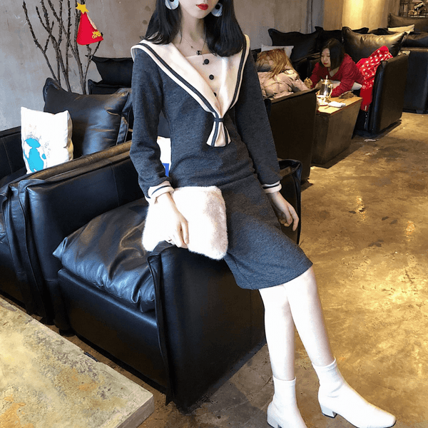 Japanese Sailor Grey Thin Waist Dress