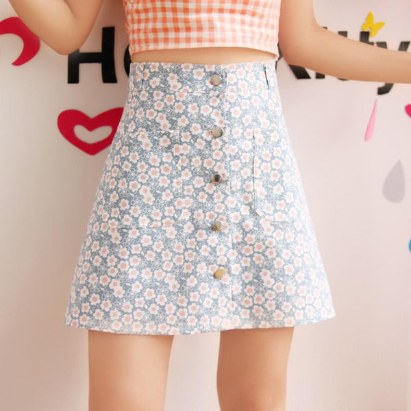 Japanese Summer Daisy Flower High Waist Skirt