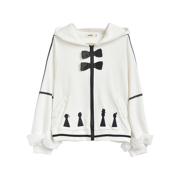 Japanese Sweet Embroidered Cartoon Pion Bow Hooded Zipper Sweater Jacket