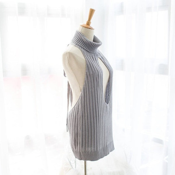 Virgin Killer Inspired Hollow Chest Keyhole Sweater KW1710106