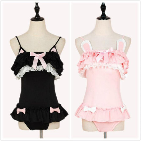 Japanese Cute Pink Bunny/Black Kitty Ruffle 1 Piece Swimsuit KW179466