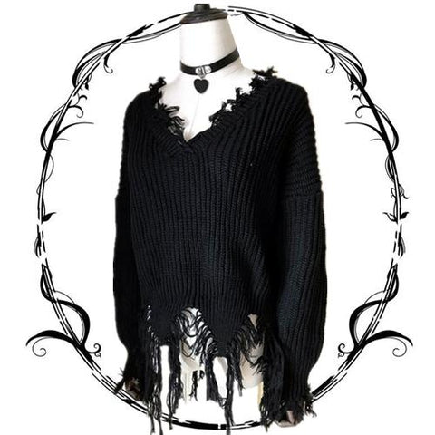 Japanese Harajuku Black Ripped Tassel Knit Sweater KW1710884